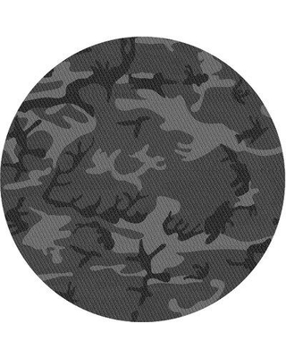 East Urban Home Camouflage Gray Area Rug X113660991 Rug Size: Round 4'