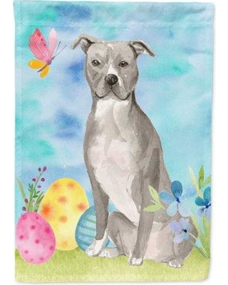 The Holiday Aisle SantaMarina 2-Sided Polyester 15 x 11 in. Garden Flag HDAY2068 Dog Breed: Gray Staffordshire Bull Terrier