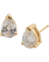 Gold over Sterling Silver Pear Shape Cubic Zirconia Stud Earrings, Girl's, Bright Gold