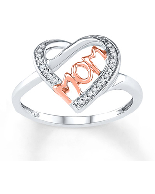 Mom Heart Ring 1/15 ct tw Diamonds 10K Two-Tone Gold