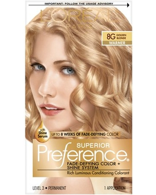 L'Oreal Paris Superior Preference Fade-Defying Shine Permanent Hair Color, 8G Golden Blonde, 1 kit
