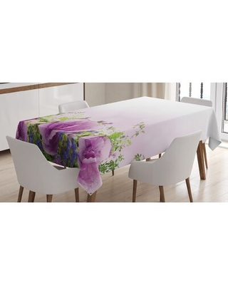 Ambesonne Flower Tablecloth, Spring Cabbage Flowers In Fragrant Bouquet With Partially Shaded Color Romance, Rectangular Table Cover For Dining Room K