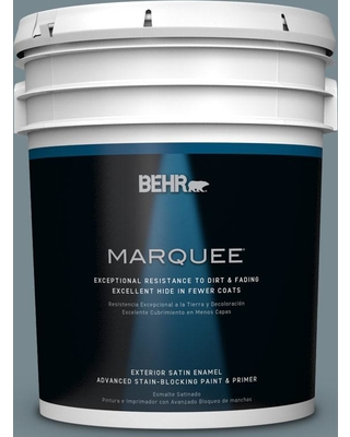BEHR MARQUEE 5 gal. #N470-5 Norwegian Blue Satin Enamel Exterior Paint and Primer in One