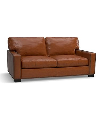 """Turner Square Arm Leather Loveseat 2-Seater 73.5"""" with Bronze Nailheads, Down Blend Wrapped Cushions, Legacy Dark Caramel"""