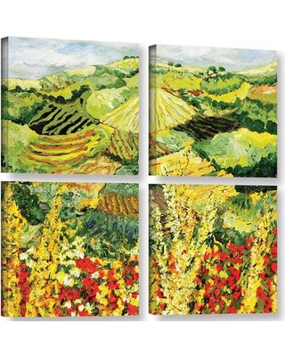 "Latitude Run Golden Hedge 4 Piece Painting Print on Wrapped Canvas Set LATR1179 Size: 48"" H x 48"" W x 2"" D"