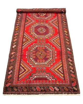 """One-of-a-Kind Ayesha Hand-Knotted 1980s Anatolian Red 4'11"""" x 10' Runner Wool Area Rug World Menagerie"""