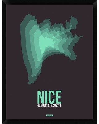 """Naxart 'Nice Radiant Map 4' Framed Graphic Art Print on Canvas, Canvas & Fabric in Brown/Green, Size 34"""" H x 26"""" W x 1.5"""" D   Wayfair"""