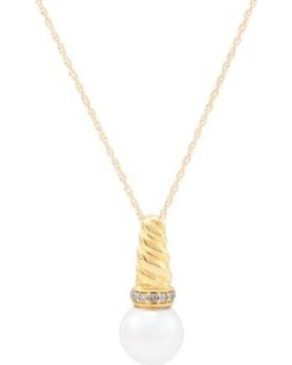 Belk & Co. Yellow Gold Fresh Water Pearl with 0.05 ct. t.w. Diamond Pendant Necklace in 10K Yellow Gold
