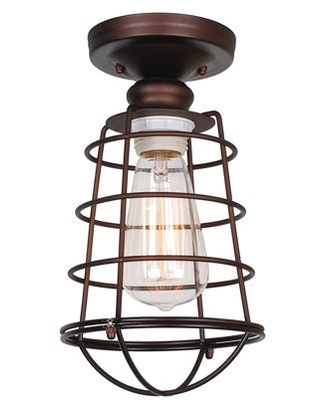 Design House 519694 Ajax Industrial Modern 1-Light Indoor Semi-Flush Ceiling Light with Metal Wire Cage for Hallway Foyer Closet, Coffee Bronze