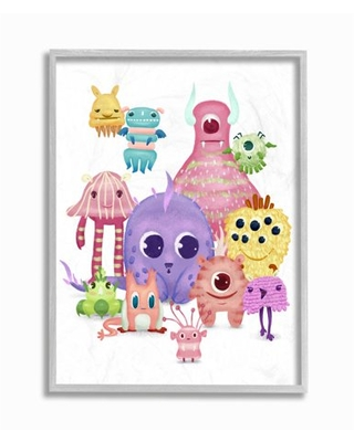Stupell Industries Whimsical Fun Monsters Big Eyes Colorful Illustration Framed Wall Art Design by Ziwei Li
