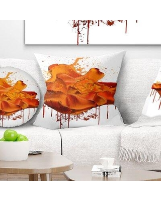 """East Urban Home Floral Abstract Rose with Splashes Pillow FUSI5505 Size: 18"""" x 18"""" Product Type: Throw Pillow"""