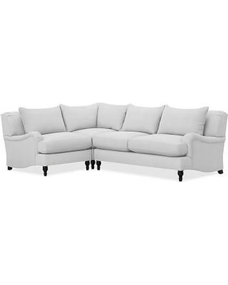 Carlisle Upholstered Right Arm 3 Piece Corner Sectional, Polyester Wrapped Cushions, Performance Twill Warm White