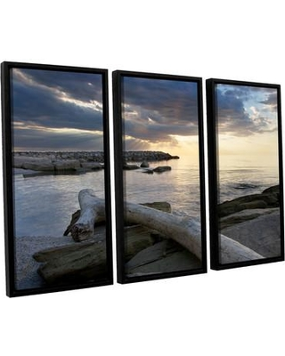 ArtWall Lake Erie Sunset Ii by Dan Wilson 3 Piece Framed Photographic Print on Canvas Set 0wil010c3654f