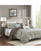 Leona Paisley Quilted Coverlet Set (Full/Queen) Brown - 6pc