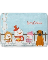 The Holiday Aisle Merry Christmas Carolers Border Terrier Memory Foam Bath Rug THLA5402