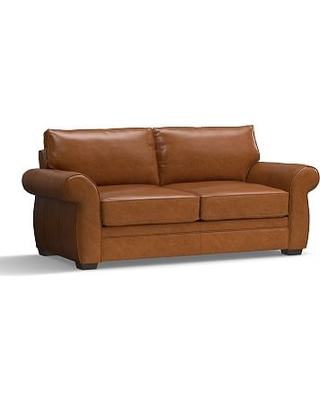 """Pearce Leather Sofa 81"""", Down Blend Wrapped Cushions, Leather Vintage Caramel"""