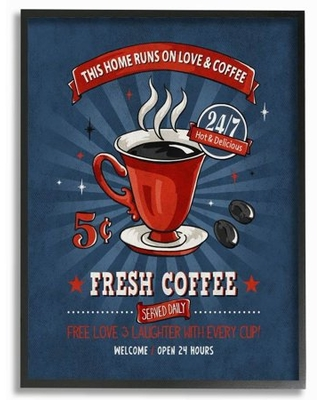 Stupell Industries Fresh Coffee Family Vintage Comic Book Design Framed Wall Art by Ester Kay