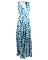 Adrianna Papell Women's Floral-Print A-Line Gown (4, Aqua Multi)