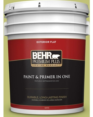 BEHR Premium Plus 5 gal. #PPU9-07 Fresh Sprout Flat Exterior Paint and Primer in One