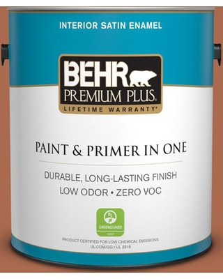 BEHR Premium Plus 1 gal. #BIC-45 Airbrushed Copper Satin Enamel Low Odor Interior Paint and Primer in One