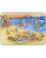 East Urban Home Animals Swimming at the Beach Memory Foam Bath Rug EAAS7358
