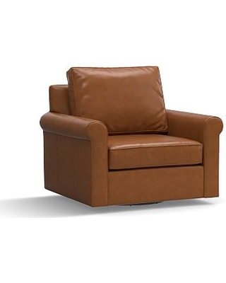 Cameron Roll Arm Leather Swivel Armchair, Polyester Wrapped Cushions, Leather Signature Maple