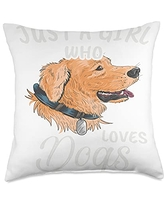 TeePrincess Funny Art Watercolor Just A Girl Who Loves Dogs Throw Pillow, 18x18, Multicolor