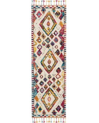 Nourison Moroccan casbah 2 x 8 Ivory Irregular Indoor Abstract Moroccan Area Rug in Off-White | 99446462954