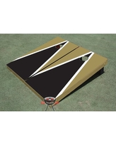 2' x 4' Matching Triangle Manufactured Wood Cornhole Board All American Tailgate Color: Black and Gold