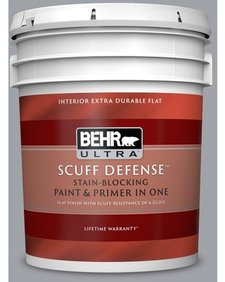 BEHR ULTRA 5 gal. #N530-4 Power Gray Extra Durable Flat Interior Paint & Primer