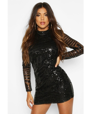 Womens Boutique Sequin And Mesh Bodycon Dress - Black - 10
