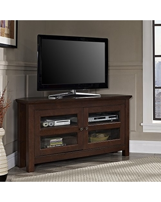 """Walker Edison Modern Farmhouse Wood Corner Universal Stand for TV's up to 50"""" Flat Screen Living Room Storage Entertainment Center, Traditional Brown"""