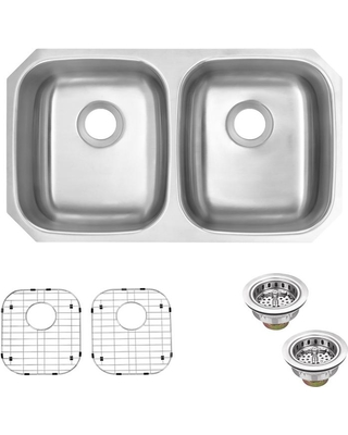 Glacier Bay Glacier Bay Undermount 16-Gauge Stainless Steel 32 in. 50/50  Double Bowl Kitchen Sink with Grid and Drain Assemblies, Silver from Home  ...