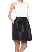 Jessica Simpson Women's Lace and Satin Twill Party Dress, White/Black, 10