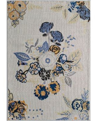 Latitude Run Holmer Bouquet Transitional Ivory/Blue/Black Area Rug W001153966 Rug Size: Rectangle 8' x 10'