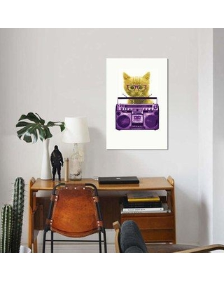 """East Urban Home 'Hipster Kitty' Graphic Art Print on Canvas EBHS5056 Size: 26"""" H x 18"""" W x 0.75"""" D"""