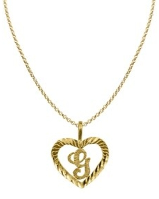 14k Yellow Gold Diamond-cut Heart-shaped Initial Letter Pendant and 1.2mm Rolo Chain (20 Inch - G)