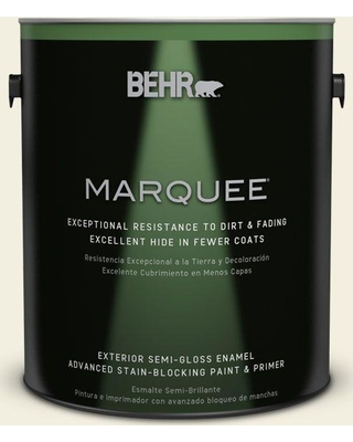 BEHR MARQUEE 1 gal. #GR-W1 White Wool Semi-Gloss Enamel Exterior Paint and Primer in One