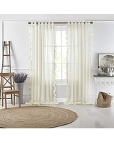"""Elrene Home Fashions Bella Tab-Top Ruffle Sheer Window Curtain Panel for Living, Dining Room, Bedroom, 52"""" x 84"""" (1, Ivory"""