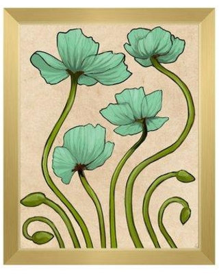 """Click Wall Art 'Nouveau Poppies' Framed Painting Print FLR0000330FRM Format: Gold Framed Size: 22.5"""" H x 18.5"""" W"""