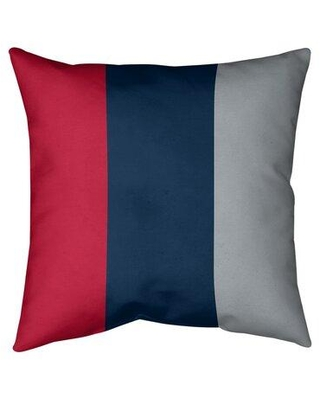 """East Urban Home New England Football Stripes Pillow (Indoor/Outdoor) EBIJ7870 Size: 16"""" x 16"""" Color: Blue Mid/Silver Side"""