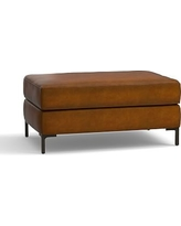 Jake Leather Ottoman, Polyester Wrapped Cushions, Leather Burnished Bourbon