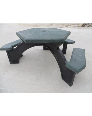 Freeport Park Simms Plastic Picnic Table BF140853 Top Color: Green