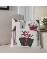 """The Holiday Aisle Present Time Throw Pillow HLDY7468 Size: 20"""" H x 20"""" W, Color: White"""