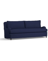 """Carlisle Slipcovered Grand Sofa 90.5"""" with Bench Cushion, Down Blend Wrapped Cushions, Performance Twill Cadet Navy"""