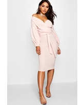 Womens Off The Shoulder Wrap Midi Bodycon Dress - Pink - 10