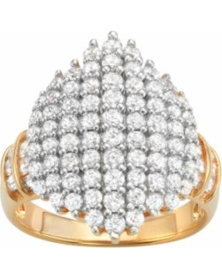 14k Gold Over Silver Cubic Zirconia Cluster Ring, Women's, Size: 7, White