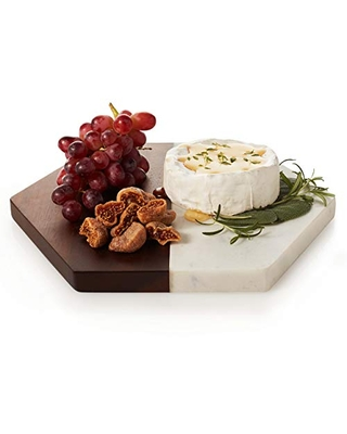 Libbey Urban Story Wood and Marble Fifty Tray, 10-inch