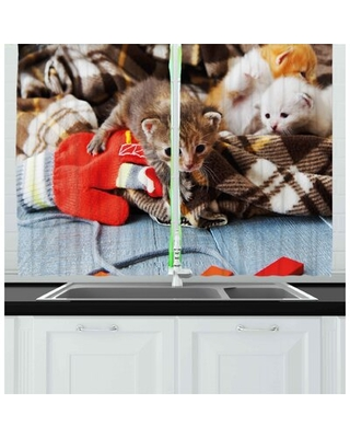 Cats 2 Piece Kitchen Curtain East Urban Home