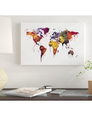 """East Urban Home 'Watercolor Map Of The World Map Dark Colors' By Michael Tompsett Graphic Art Print on Canvas EUME2116 Size: 12"""" H x 18"""" W x 1.5"""" D"""